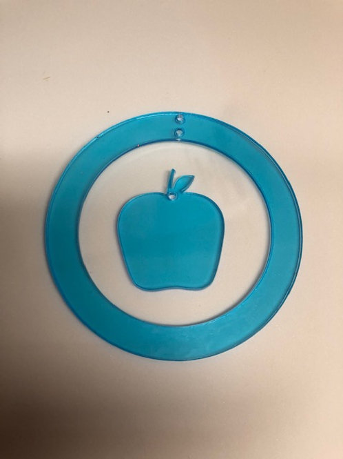 CIRCLE ORNAMENT WITH APPLE DANGLE