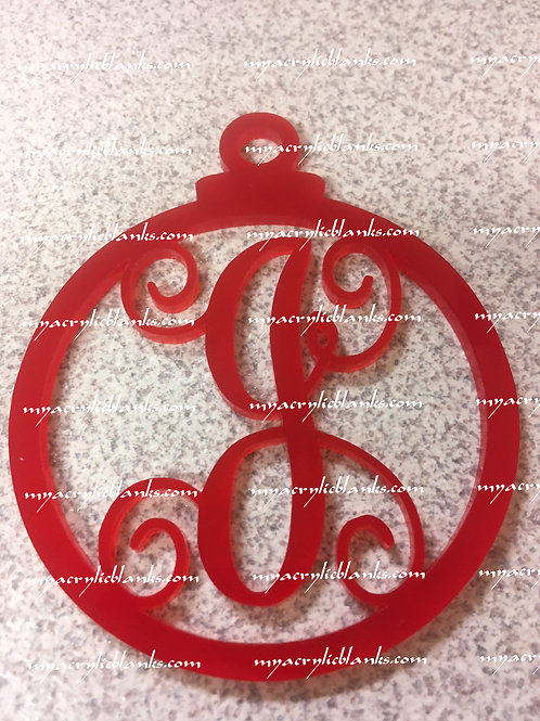 RED ACRYLIC CHRISTMAS ORNAMENT  J