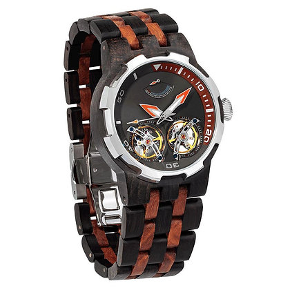 Men's Dual Wheel Automatic Ebony & Rosewood Watch For High End Watch Collectors
