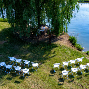 Pond-side wedding ceremony