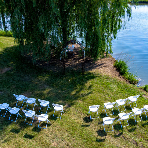 Pond-side wedding ceremony