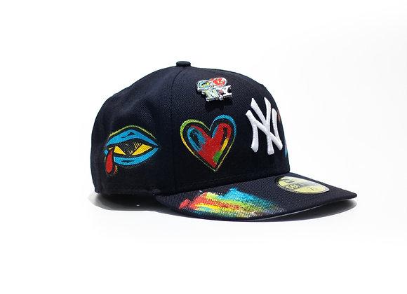 'Eye Love NY' Yankee New Era Custom Fitted Navy