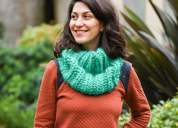 Snood adulte, alpaga et laine, tricoté main