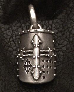 Silver Crusader Helm Pendant