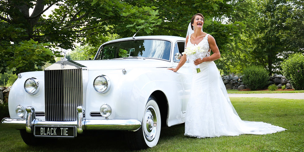 Stunning bride and her wedding rolls-royce phantom v, in MA, by Xenia Helix Photography