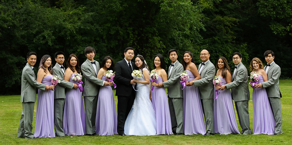 Asian wedding in lavender colors, beautiful bridal party shot, by Xenia Hlix Photography
