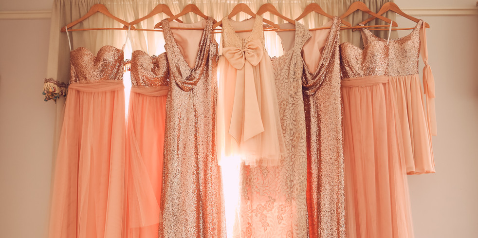 Gorgeous sparkling peach bridesmaids dresses, by Xenia Helix Photogrphy