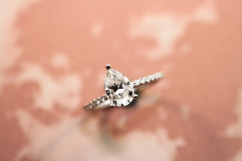 Moissanite and Diamond Ring