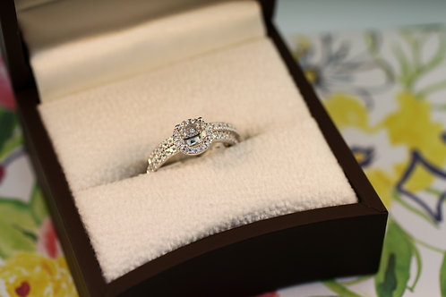 Halo Engagement Ring and Band