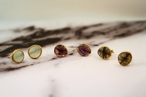 Gemstone Slice Stud Earrings