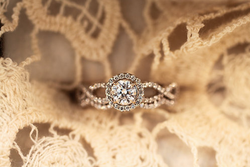 Infinity Style Halo Engagement Ring and Band