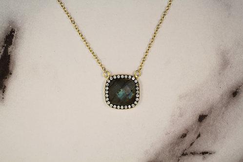 Labradorite TwoTone Square Necklace