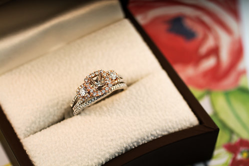 Rose Gold Triple Halo Engagement Ring and Band