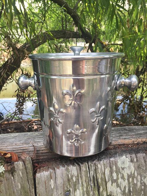Fleur de Lis Ice Bucket with Lid
