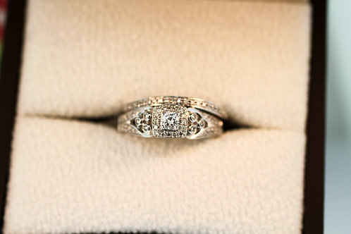 Sculptural Halo Engagement Ring and Band