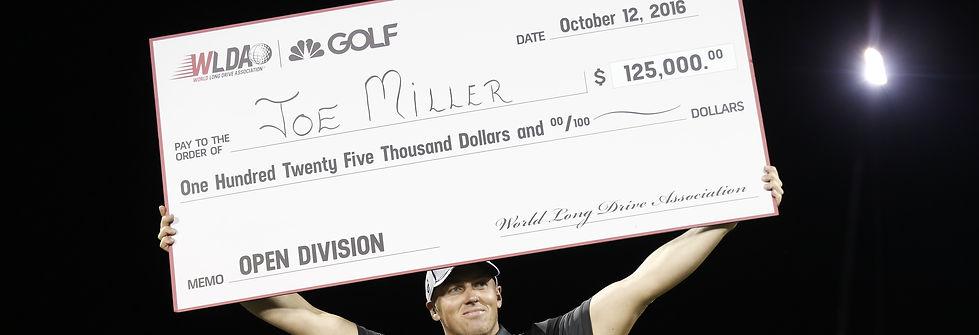 Joe Miller Logo golf, golfer, long drive, champion, world, body building, callaway, uk, muscles, power, pro, tournament, winner, champion, dollars, cheque, money, achievements, re max world long drive championship