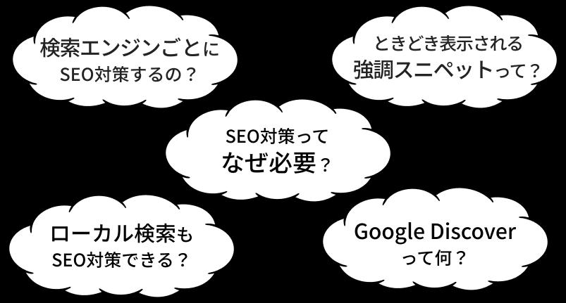 「検索エンジンごとにSEO対策するの?」「ときどき表示される強調スニペットって?」「SEO対策ってなぜ必要?」「ローカル検索もSEO対策できる?」「Google Discoverって何」