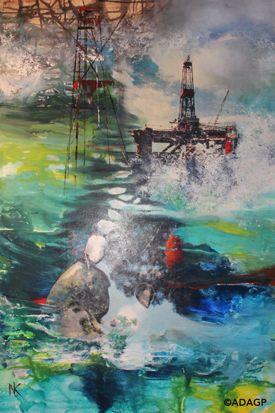 """""""The Ocean is your mirror"""" or « La Mer est ton miroir » (108 x 73 cm), mixed media painting, 2015   This painting in honor of the COP 21 in Paris in 2015, symbolizes Nicole King's concern about climate change and offshore oil production. Drilling for fossil fuel takes place in increasingly dangerous conditions for the planet and the ocean. New oil fields are being discovered farther and farther out in geological layers several miles deep underwater often under the seafloor, with such high pressures and temperatures that oil and gas wells are becoming uncontrollable when « accidents » occur. (such as the Deepwater Horizon and Elgin platforms).  Atmospheric pollution and global warming are symbolized at the top of the canvas in the underlayer, and the melting of the sea ice due to climate change is suggested in the center of the canvas."""