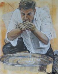 La Soif (ou Nico à la fontaine) _ The Thirst 65 x 50 cm, hommage à Zec