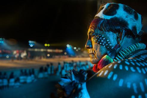Jakalo Kuikuro watches his team at the First International Indigenous Games in Palmas, Tocantins
