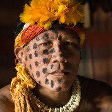 Yawapi Kamayura killed a jaguar, so he has the right to use its claws and spots