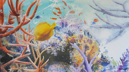 « The Bleaching of coral reefs », (71 x 130 cm),oil painting, 2019