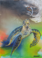 « Caretta, two eco-cophases », (130 x 97 cm), oil painting, 2020