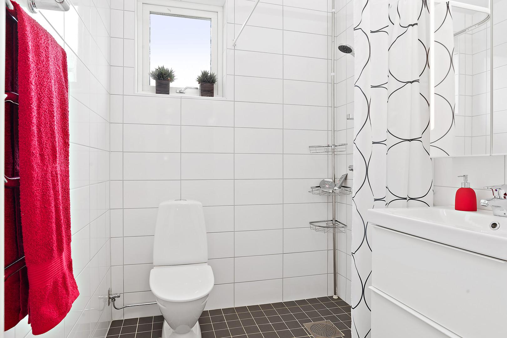 Toalett ett med dusch