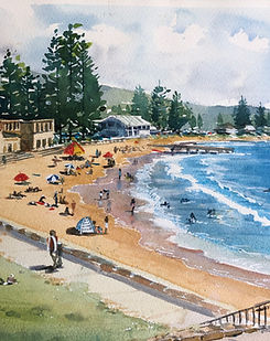 Intermediate watecolour painting Classes and courses online - painting of Collaroy Beach by Jenny Gilchrist.