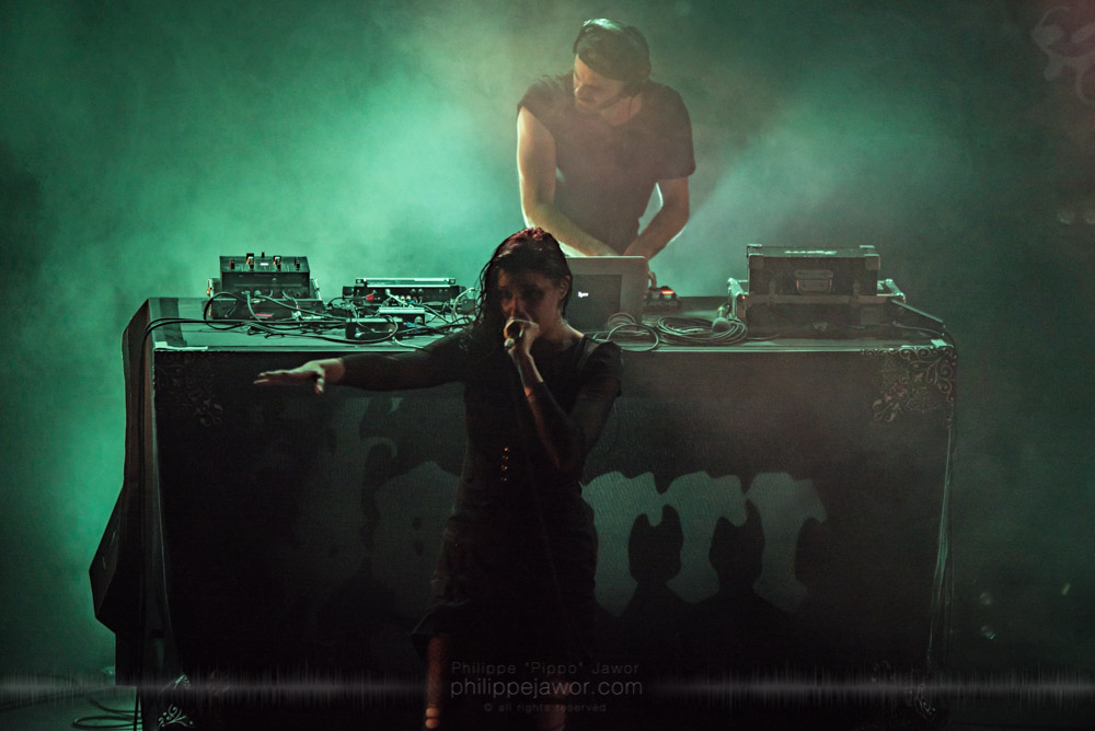 """Laure Le Prunenec (front), singer, and Gautier Serre (back), mastermind of the French breakcore metal project Igorrr, live in Lyon, France, November 2017.  © Philippe """"Pippo"""" Jawor All rights reserved."""