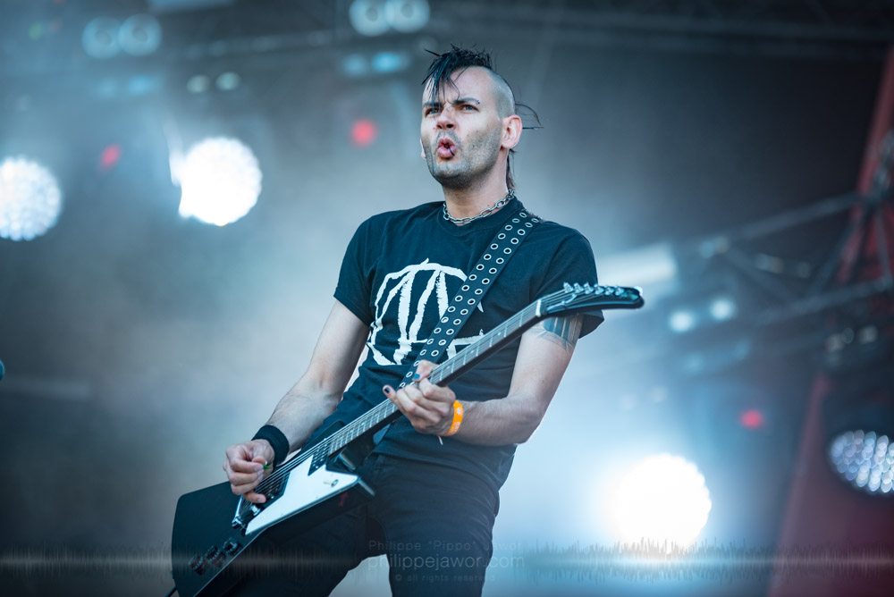 "Fabien ""Flokos"" Le Floch, guitarist of the French comedy metal band Ultra Vomit, live at Hellfest Open Air festival, Clisson, France, June 2017.  On assignment for Metal Obs' Magazine.  © Philippe ""Pippo"" Jawor All rights reserved."