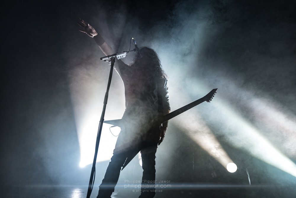 """Miland """"Mille"""" Petrozza, lead singer and guitarist of the German thrash metal band Kreator, live in Lyon, France, January 2018.  © Philippe """"Pippo"""" Jawor All rights reserved."""