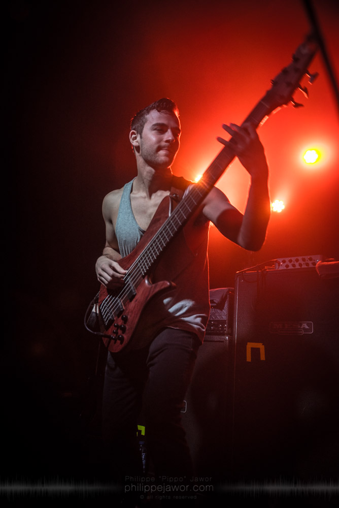"Jacob Umansky, bass player of the Canadian progressive metal band Intervals, live in Lyon, France, November 2017.  © Philippe ""Pippo"" Jawor All rights reserved."