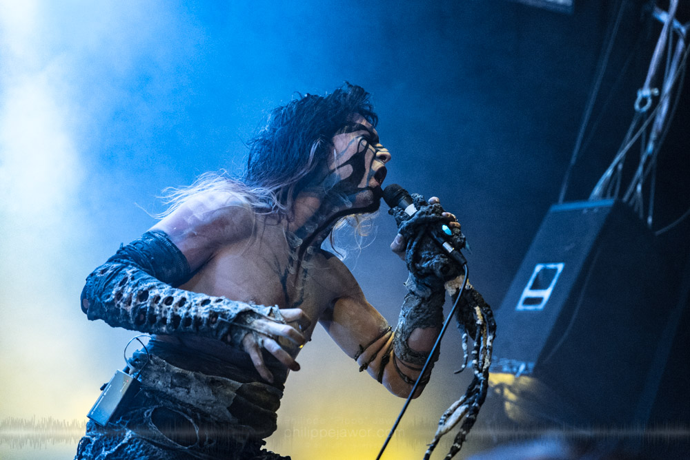 """Laurent Lunoir, singer of the French breakcore metal project Igorrr, live in Lyon, France, November 2017.  © Philippe """"Pippo"""" Jawor All rights reserved."""