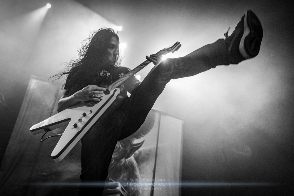 """Aaron Homma, guitarist of the Canadian thrash metal band Annihilator, live in Lyon, France, December 2017.  © Philippe """"Pippo"""" Jawor All rights reserved."""