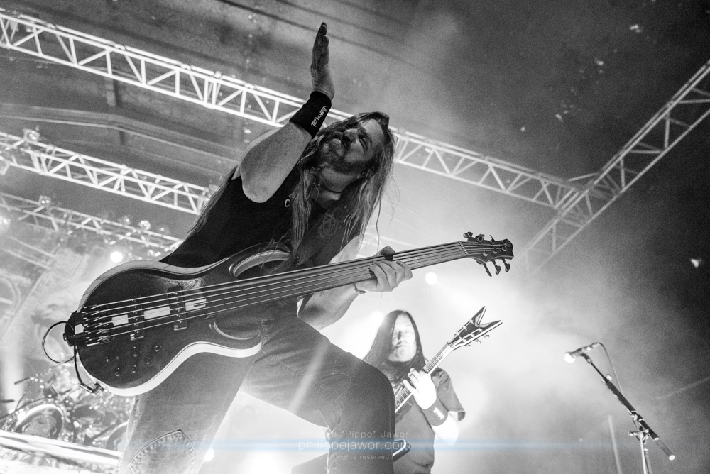 """Steve Di Giorgio, bass player of the American thrash metal band Testament, live in Lyon, France, December 2017.  © Philippe """"Pippo"""" Jawor All rights reserved."""