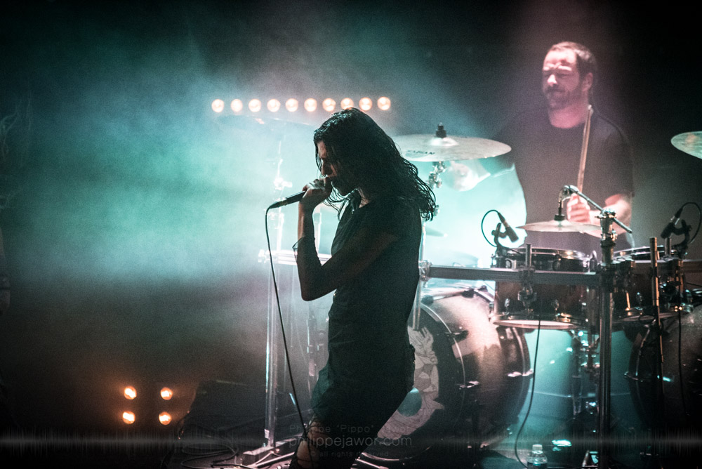 """Laure Le Prunenec (left), singer, and Sylvain Bouvier (right), drummer of the French breakcore metal project Igorrr, live in Lyon, France, November 2017.  © Philippe """"Pippo"""" Jawor All rights reserved."""