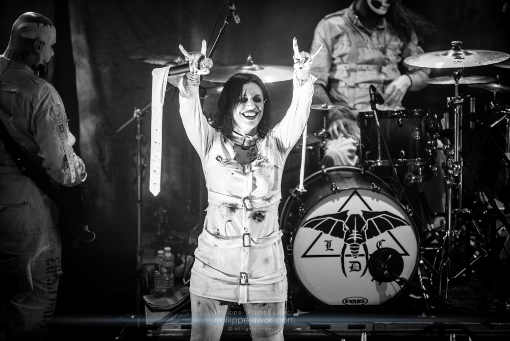 """Cristina Scabbia, lead singer of the Italian gothic metal band Lacuna Coil, live in Lyon, France, December 2017.  © Philippe """"Pippo"""" Jawor All rights reserved."""
