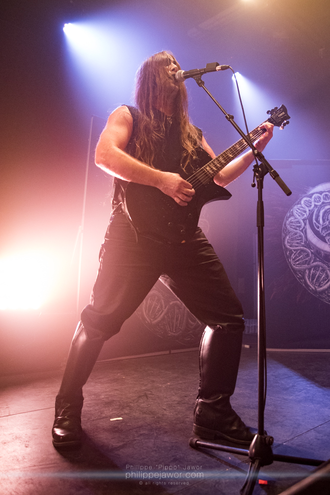 """Jason """"Dagon"""" Weirbach, guitarist and lead singer of the Colombian/American black metal band Inquisition, live in Lyon, France, January 2018.  © Philippe """"Pippo"""" Jawor All rights reserved."""