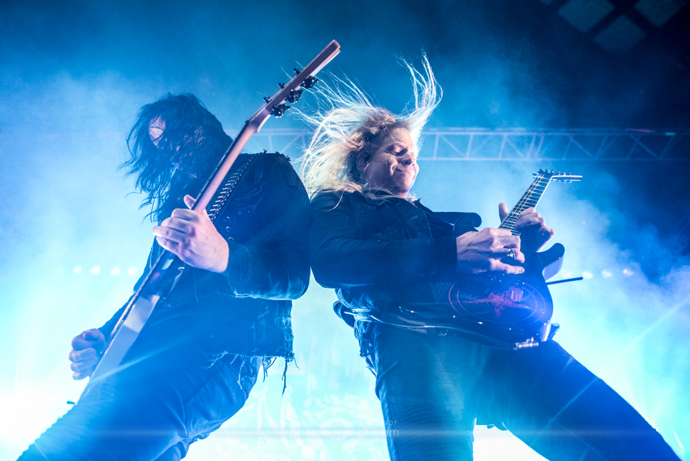 "Michael Amott (left) and Jeff Loomis (right), guitarists of the Swedish melodic death metal band Arch Enemy, live in Lyon, France, January 2018.  © Philippe ""Pippo"" Jawor All rights reserved."