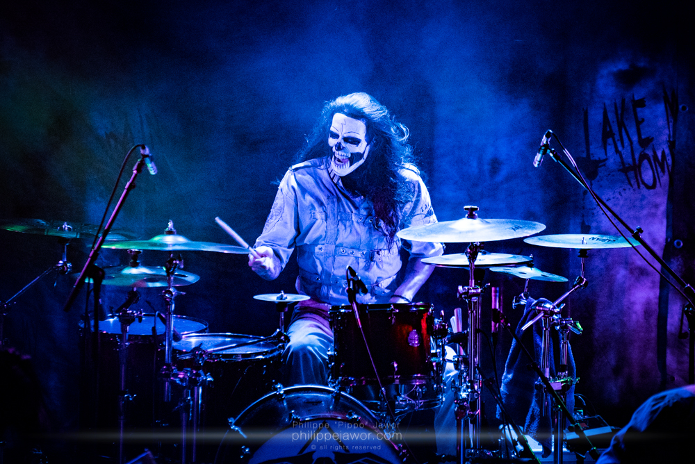 """Ryan Blake Folden, drummer of the Italian gothic metal band Lacuna Coil, live in Lyon, France, December 2017.  © Philippe """"Pippo"""" Jawor All rights reserved."""