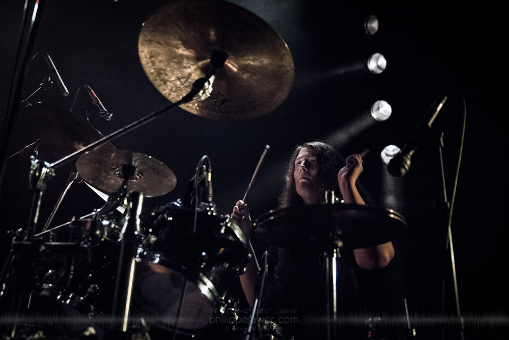 """Pim Goverde, drummer of the Dutch progressive groove metal band Extremities, live in Lyon, France, November 2017.  On assignment for Metal Obs' Magazine © Philippe """"Pippo"""" Jawor All rights reserved."""