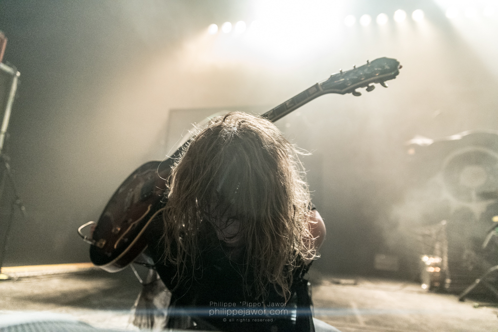 "Jonathan Hultén, guitarist of the Swedish Progressive Death/Black Metal band Tribulation, live in Lyon, France, January 2018.  © Philippe ""Pippo"" Jawor All rights reserved."