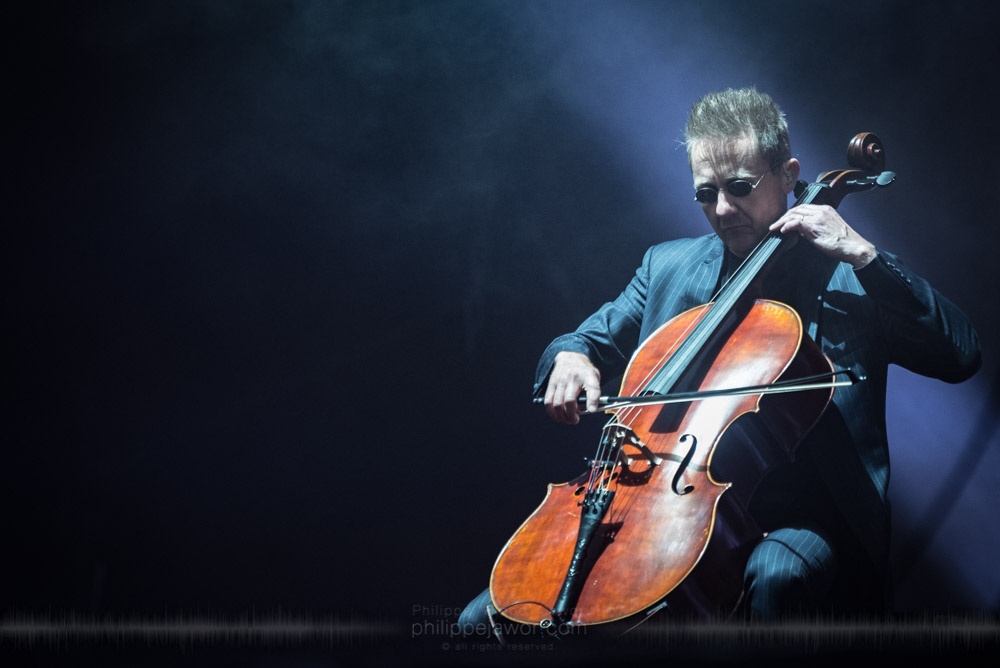 "Antero Manninen, cello player of the Finnish band Apocalyptica, live at Hellfest Open Air festival, Clisson, France, June 2017.  On assignment for Metal Obs' Magazine.  © Philippe ""Pippo"" Jawor All rights reserved."