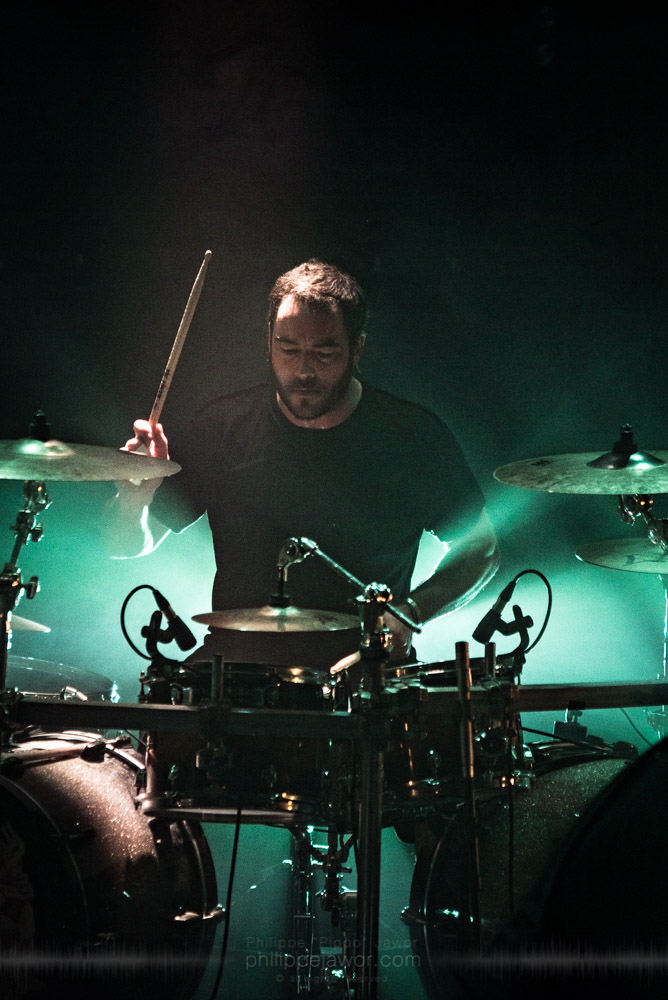 """Sylvain Bouvier, drummer of the French breakcore metal project Igorrr, live in Lyon, France, November 2017.  © Philippe """"Pippo"""" Jawor All rights reserved."""
