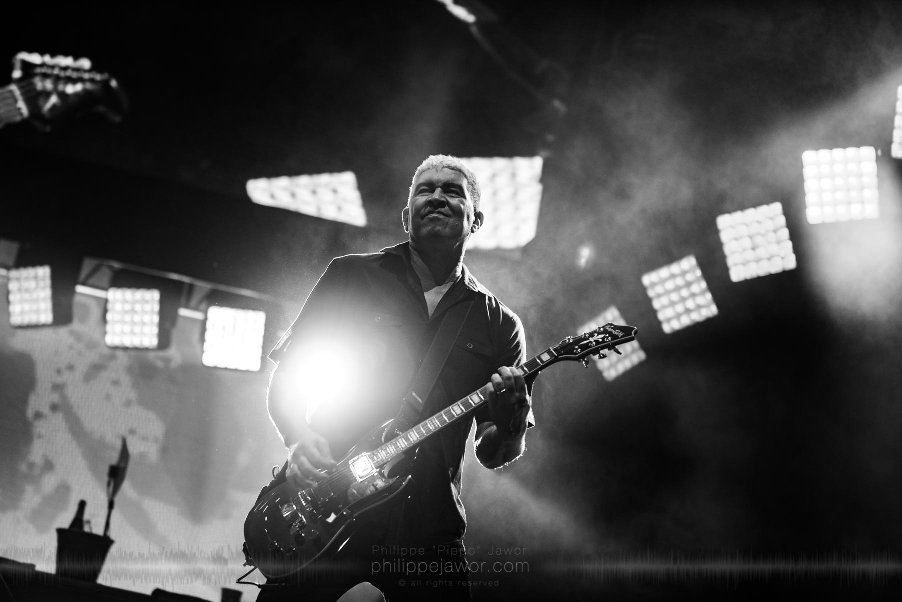 "Pat Smear, guitarist of the American rock band Foo Fighters @ AccorHotels Arena, Paris, France, July 2017.  © Philippe ""Pippo"" Jawor on assignment for Metal Obs' Magazine, all rights reserved."