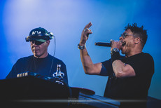 """The French rap artist Didier """"Joey Starr"""" Morville and the French DJ Anouar """"Cut Killer"""" Hajoui, live at Foreztival festival, Trelins, France, August 2019.  © Philippe """"Pippo"""" Jawor All rights reserved."""