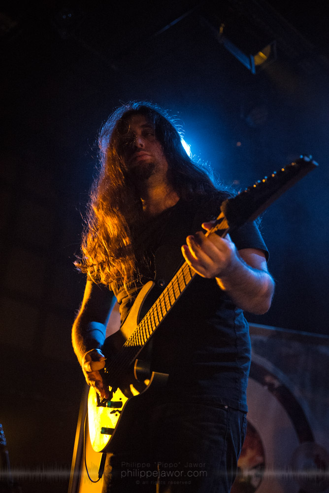"""Joe Tal, guitar player of the Dutch progressive metal band Textures, live in Lyon, France, November 2017.  On assignment for Metal Obs' Magazine © Philippe """"Pippo"""" Jawor All rights reserved."""