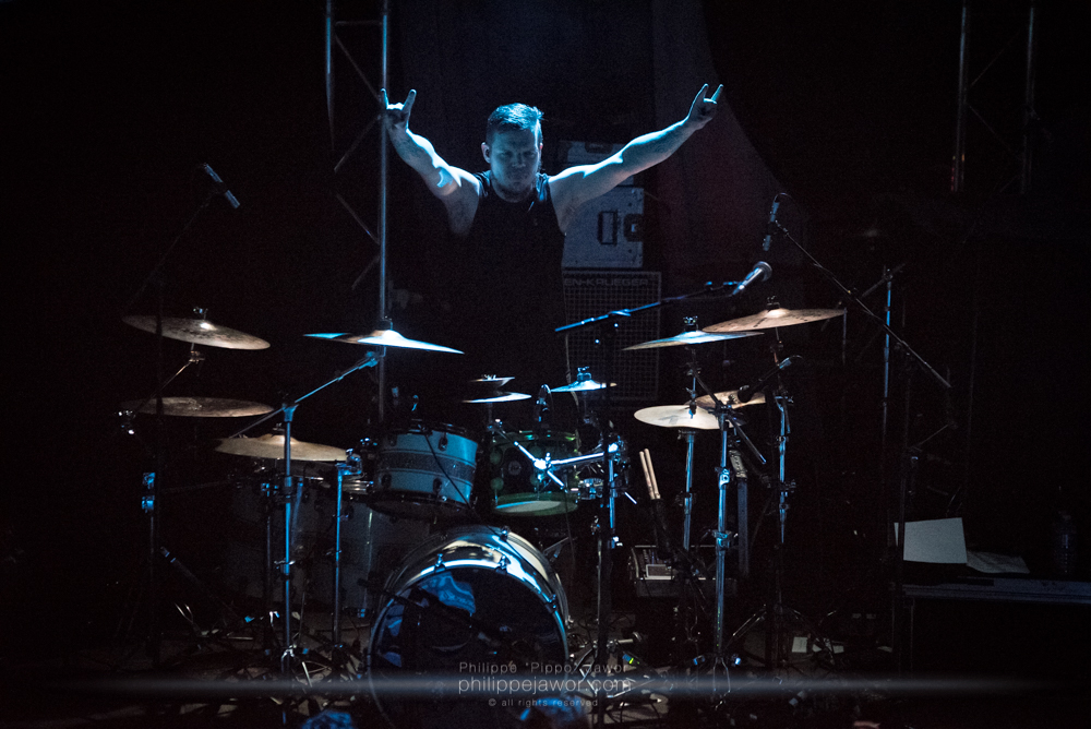 """Bodo Stricker, drummer of the German alternative metal band Aeverium, live in Lyon, France, December 2017.  © Philippe """"Pippo"""" Jawor All rights reserved."""