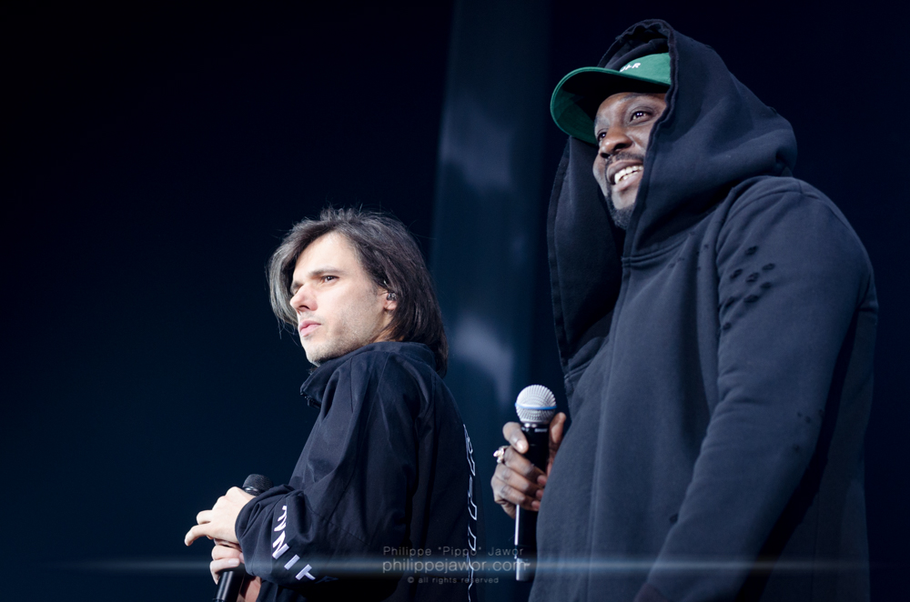 "The French rapper Aurélien ""Orelsan"" Cotentin (left) and Abdoulaye ""Ablaye"" Doucouré (right), live in Lyon, France, February 2018.  © Philippe ""Pippo"" Jawor All rights reserved."